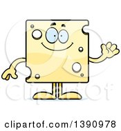Clipart Of A Cartoon Friendly Waving Swiss Cheese Mascot Character Royalty Free Vector Illustration