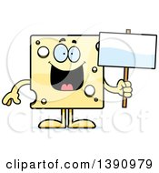 Clipart Of A Cartoon Happy Swiss Cheese Mascot Character Holding A Blank Sign Royalty Free Vector Illustration