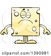 Clipart Of A Cartoon Sad Swiss Cheese Mascot Character Royalty Free Vector Illustration
