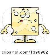 Clipart Of A Cartoon Sick Swiss Cheese Mascot Character Royalty Free Vector Illustration