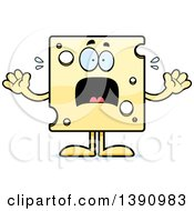 Clipart Of A Cartoon Scared Swiss Cheese Mascot Character Royalty Free Vector Illustration by Cory Thoman