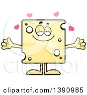 Clipart Of A Cartoon Loving Swiss Cheese Mascot Character Wanting A Hug Royalty Free Vector Illustration