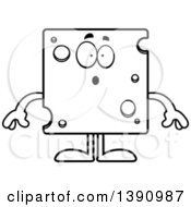Clipart Of A Cartoon Black And White Lineart Surprised Swiss Cheese Mascot Character Royalty Free Vector Illustration by Cory Thoman