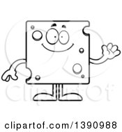 Clipart Of A Cartoon Black And White Lineart Friendly Waving Swiss Cheese Mascot Character Royalty Free Vector Illustration by Cory Thoman