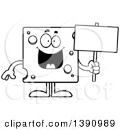 Clipart Of A Cartoon Black And White Lineart Happy Swiss Cheese Mascot Character Holding A Blank Sign Royalty Free Vector Illustration by Cory Thoman