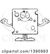 Clipart Of A Cartoon Black And White Lineart Mad Swiss Cheese Mascot Character Royalty Free Vector Illustration by Cory Thoman