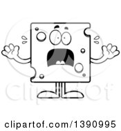 Clipart Of A Cartoon Black And White Lineart Scared Swiss Cheese Mascot Character Royalty Free Vector Illustration by Cory Thoman