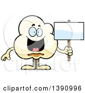 Cartoon Happy Popcorn Mascot Character Holding A Blank Sign