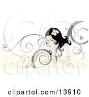 Beautiful Woman With Swirl Background Clipart Illustration