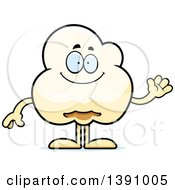 Cartoon Friendly Waving Popcorn Mascot Character