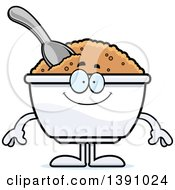 Clipart Of A Cartoon Happy Bowl Of Oatmeal Mascot Character Royalty Free Vector Illustration