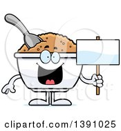 Clipart Of A Cartoon Happy Bowl Of Oatmeal Mascot Character Holding A Blank Sign Royalty Free Vector Illustration by Cory Thoman