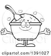 Clipart Of A Cartoon Black And White Lineart Loving Bowl Of Oatmeal Mascot Character Wanting A Hug Royalty Free Vector Illustration by Cory Thoman