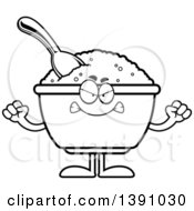 Clipart Of A Cartoon Black And White Lineart Mad Bowl Of Oatmeal Mascot Character Royalty Free Vector Illustration by Cory Thoman