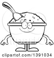 Clipart Of A Cartoon Black And White Lineart Happy Bowl Of Oatmeal Mascot Character Royalty Free Vector Illustration by Cory Thoman