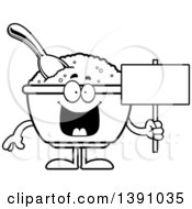 Clipart Of A Cartoon Black And White Lineart Happy Bowl Of Oatmeal Mascot Character Holding A Blank Sign Royalty Free Vector Illustration by Cory Thoman
