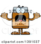 Clipart Of A Cartoon Scared Peanut Butter Jar Mascot Character Royalty Free Vector Illustration
