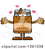 Clipart Of A Cartoon Loving Peanut Butter Jar Mascot Character Wanting A Hug Royalty Free Vector Illustration