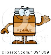 Clipart Of A Cartoon Friendly Waving Peanut Butter Jar Mascot Character Royalty Free Vector Illustration