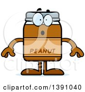 Clipart Of A Cartoon Surprised Peanut Butter Jar Mascot Character Royalty Free Vector Illustration by Cory Thoman
