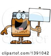 Clipart Of A Cartoon Peanut Butter Jar Mascot Character Holding A Blank Sign Royalty Free Vector Illustration