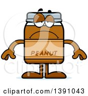 Clipart Of A Cartoon Depressed Peanut Butter Jar Mascot Character Royalty Free Vector Illustration