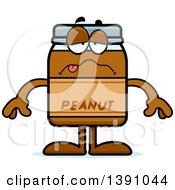 Clipart Of A Cartoon Sick Peanut Butter Jar Mascot Character Royalty Free Vector Illustration