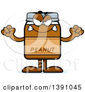 Clipart Of A Cartoon Mad Peanut Butter Jar Mascot Character Royalty Free Vector Illustration