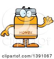 Clipart Of A Cartoon Friendly Waving Honey Jar Mascot Character Royalty Free Vector Illustration