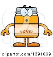 Clipart Of A Cartoon Surprised Honey Jar Mascot Character Royalty Free Vector Illustration