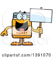 Clipart Of A Cartoon Honey Jar Mascot Character Holding A Blank Sign Royalty Free Vector Illustration