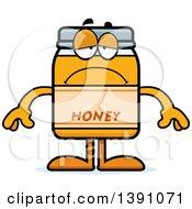 Clipart Of A Cartoon Depressed Honey Jar Mascot Character Royalty Free Vector Illustration