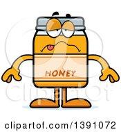 Clipart Of A Cartoon Sick Honey Jar Mascot Character Royalty Free Vector Illustration