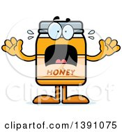 Clipart Of A Cartoon Scared Honey Jar Mascot Character Royalty Free Vector Illustration by Cory Thoman