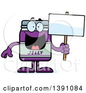 Clipart Of A Cartoon Grape Jam Jelly Jar Mascot Character Holding A Blank Sign Royalty Free Vector Illustration