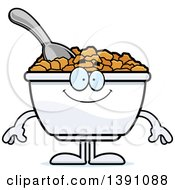 Clipart Of A Cartoon Happy Bowl Of Corn Flakes Breakfast Cereal Character Royalty Free Vector Illustration
