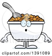 Clipart Of A Cartoon Surprised Bowl Of Corn Flakes Breakfast Cereal Character Royalty Free Vector Illustration by Cory Thoman