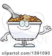 Clipart Of A Cartoon Friendly Waving Bowl Of Corn Flakes Breakfast Cereal Character Royalty Free Vector Illustration by Cory Thoman