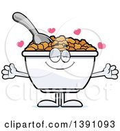 Clipart Of A Cartoon Loving Bowl Of Corn Flakes Breakfast Cereal Character Wanting A Hug Royalty Free Vector Illustration by Cory Thoman