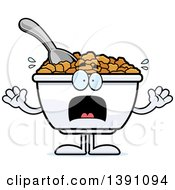 Clipart Of A Cartoon Scared Bowl Of Corn Flakes Breakfast Cereal Character Royalty Free Vector Illustration by Cory Thoman