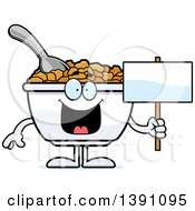 Clipart Of A Cartoon Bowl Of Corn Flakes Breakfast Cereal Character Holding A Blank Sign Royalty Free Vector Illustration by Cory Thoman