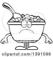 Clipart Of A Cartoon Black And White Lineart Depressed Bowl Of Corn Flakes Breakfast Cereal Character Royalty Free Vector Illustration by Cory Thoman