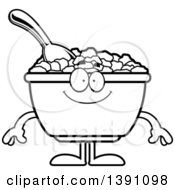 Clipart Of A Cartoon Black And White Lineart Happy Bowl Of Corn Flakes Breakfast Cereal Character Royalty Free Vector Illustration by Cory Thoman