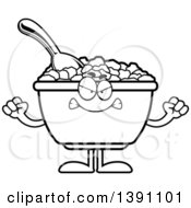 Clipart Of A Cartoon Black And White Lineart Mad Bowl Of Corn Flakes Breakfast Cereal Character Royalty Free Vector Illustration by Cory Thoman