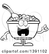 Clipart Of A Cartoon Black And White Lineart Friendly Waving Bowl Of Corn Flakes Breakfast Cereal Character Royalty Free Vector Illustration by Cory Thoman