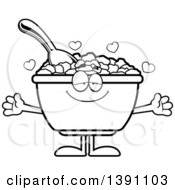 Clipart Of A Cartoon Black And White Lineart Loving Bowl Of Corn Flakes Breakfast Cereal Character Wanting A Hug Royalty Free Vector Illustration by Cory Thoman