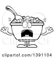 Clipart Of A Cartoon Black And White Lineart Scared Bowl Of Corn Flakes Breakfast Cereal Character Royalty Free Vector Illustration by Cory Thoman