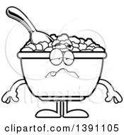Clipart Of A Cartoon Black And White Lineart Sick Bowl Of Corn Flakes Breakfast Cereal Character Royalty Free Vector Illustration by Cory Thoman