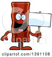 Clipart Of A Cartoon Crispy Bacon Character Holding A Blank Sign Royalty Free Vector Illustration