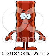 Clipart Of A Cartoon Happy Crispy Bacon Character Royalty Free Vector Illustration